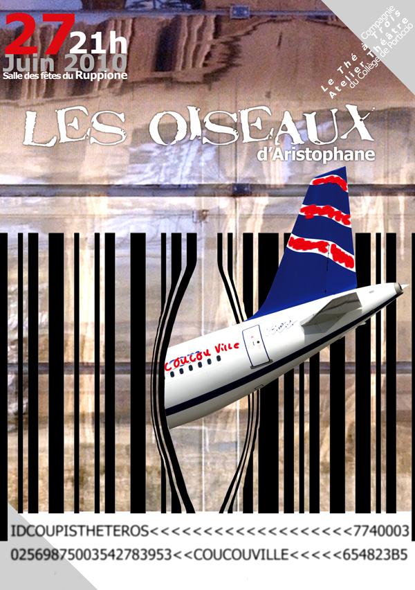 """Affiche de la pièce de théâtre """"Les Oiseaux"""" d'Aristophane"""